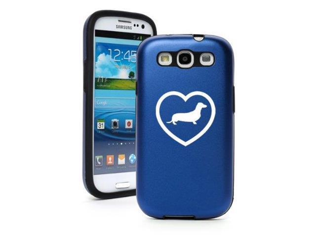 Blue Samsung Galaxy S III S3 Aluminum & Silicone Hard Case SK16 Dachshund Heart