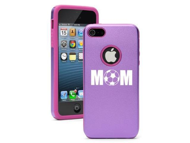 Apple iPhone 5 Purple 5D3039 Aluminum & Silicone Case Cover MOM Soccer
