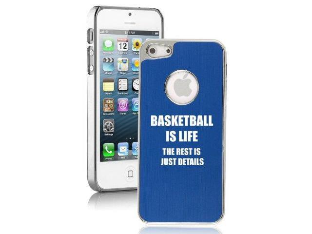Apple iPhone 5 Blue 5E82 Aluminum Plated Chrome Hard Back Case Cover Basketball Is Life
