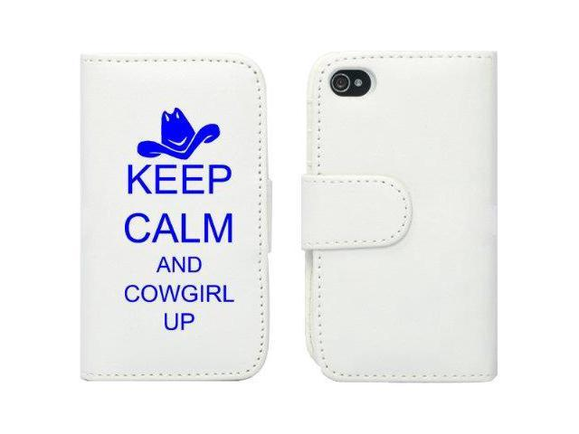 White Apple iPhone 4 4S 4G LP270 Leather Wallet Case Cover Blue Keep Calm and Cowgirl Up