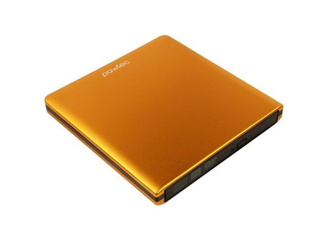 Pawtec Signature External USB 3.0 Aluminum 8X DVD-RW Writer Optical Drive with Lightscribe - ORANGE