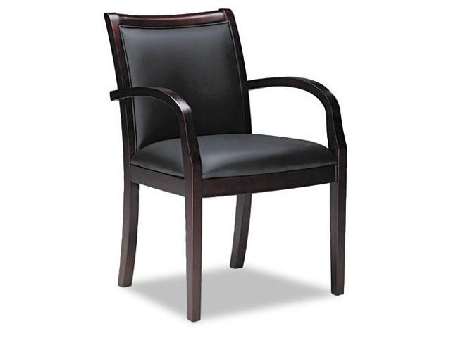Mercado Series Ladder-Back Wood Guest Chair, Mahogany/Black Leather