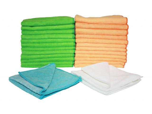 Atlas Microfiber Cleaning Cloth -12-Pack  (6 Green and 6 Orange) with 2 FREE 12x11.5