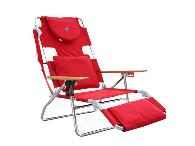 Ostrich D3N R RED Deluxe 3N1 Beach Chair With Face