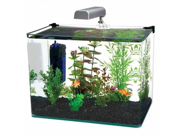 Penn plax ww113k radius 10 gallon glass aquarium kit for Fish tank and stand combo