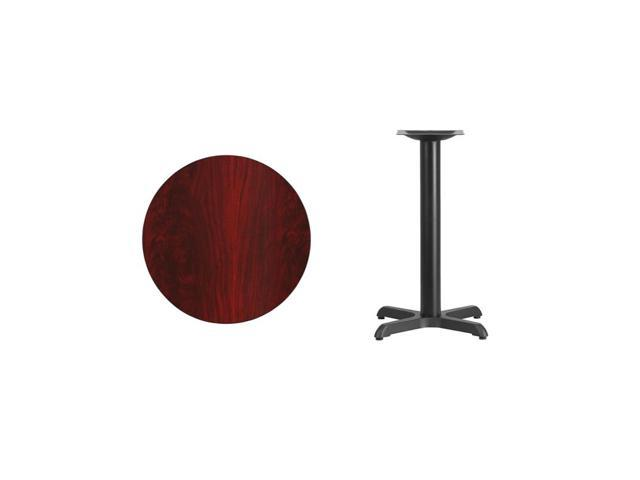 24'' Round Mahogany Laminate Table Top with 22'' x 22'' Table Height Base