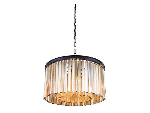Elegant Lighting 1208 Sydney Collection Pendent lamp D-26in H-13.5in Lt-8 Mocha Brown Finish-Royal Cut Golden Teak Crystals-1208D26MB-GT-RC