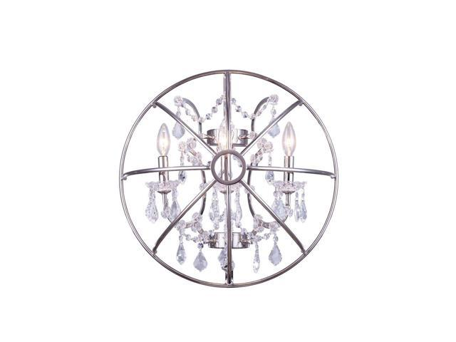 Elegant Lighting 1130 Geneva Collection Wall Lamp W-21in H-21in E10.5in Lt-3 Polished nickel Finish-Royal Cut Crystals-1130W21PN-RC