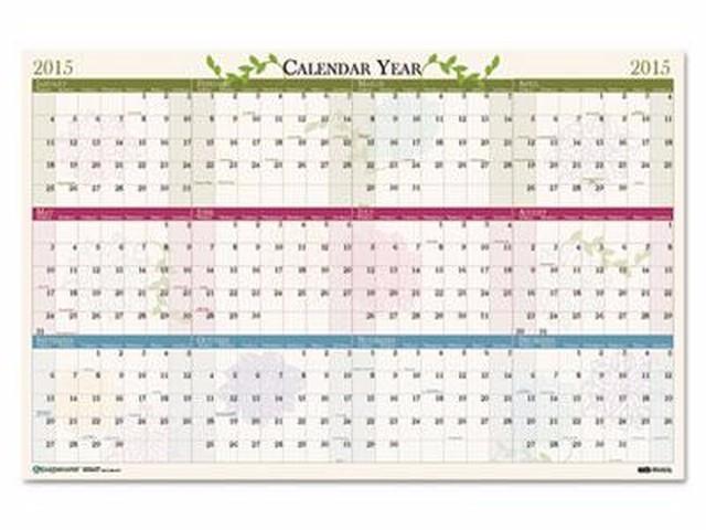 Year Calendar Sia : House of doolittle floral reversible erasable