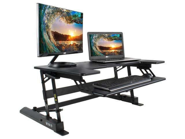 VIVO Height Adjustable Standing Desk Monitor Riser Tabletop Sit to