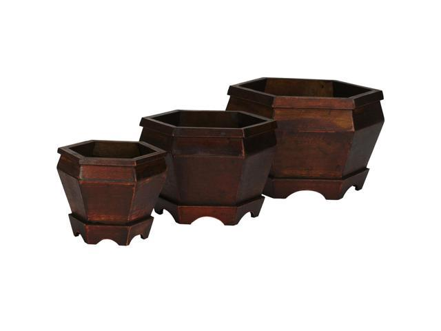 Nearly Natural Wooden Hexagon Decorative Planter (Set of 3)