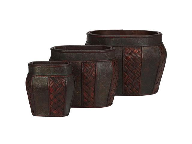 Nearly Natural Oval Decorative Planter (Set of 3)