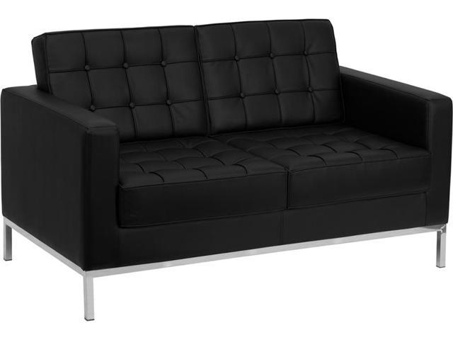 Lacey Series Black Leather Love Seat with Stainless Steel Frame by Flash Furniture