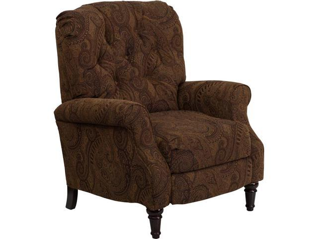 Traditional Tobacco Fabric Tufted Hi-Leg Recliner By Flash Furniture