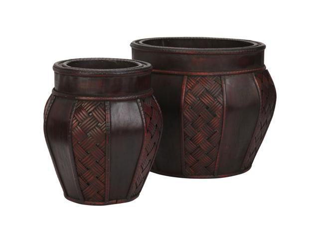 Nearly Natural Wood and Weave Panel Decorative Planters (Set of 2)