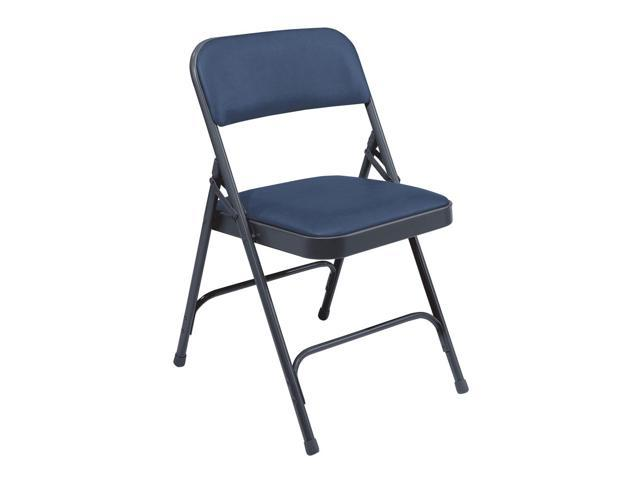 NPS Vinyl Upholstered Premium Folding Metal Portable Cushion Chair Blue New