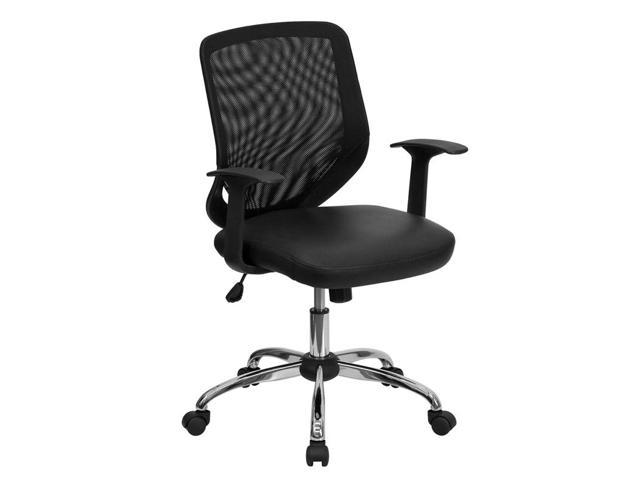 Flash Furniture Mid-Back Black Office Chair with Mesh Back and Italian Leather Seat [LF-W95-LEA-BK-GG]