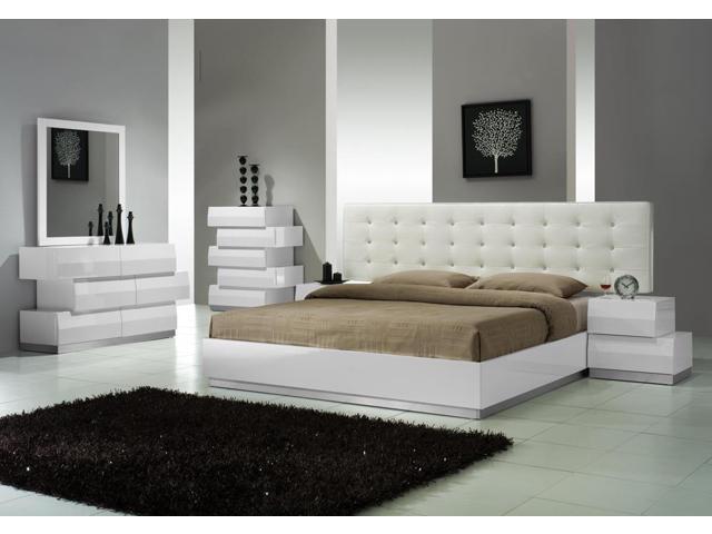 furniture milan 5 piece platform bedroom set in white lacquer