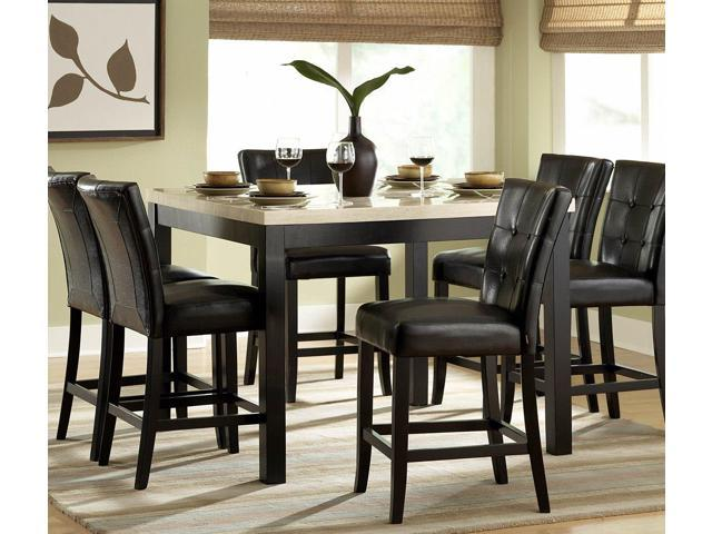 Homelegance Archstone 7 Piece Counter Height Dining Room Set W Black Chairs