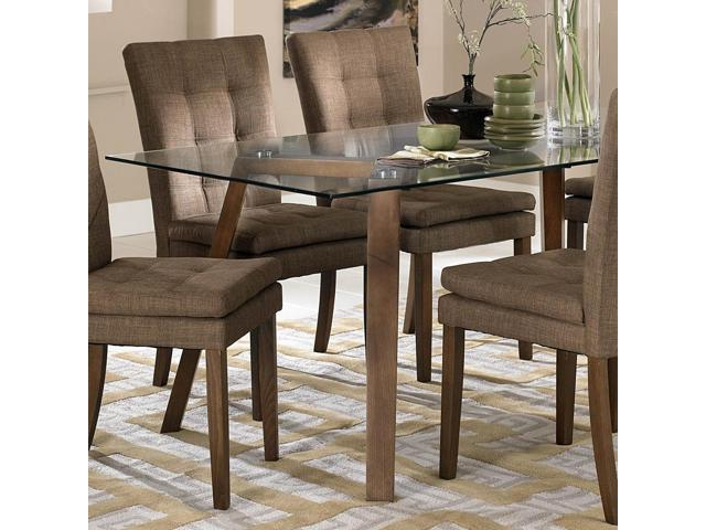 Homelegance Maitland Glass Top Dining Table W Beech Wood Legs