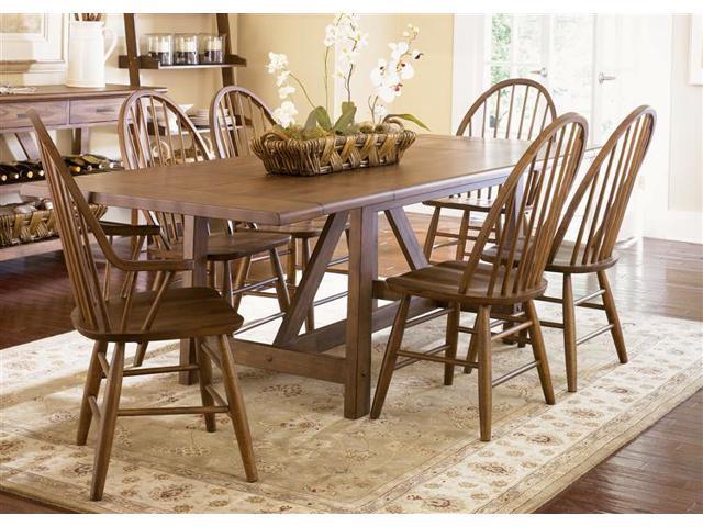 Liberty Furniture Farmhouse 7 Piece Trestle Table Set in Weathered Oak Finish