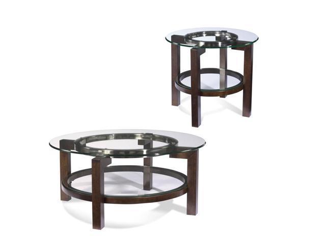 Bassett Mirror T1705 Oslo Round 2 Piece Glass Top Coffee Table Set: one piece glass coffee table