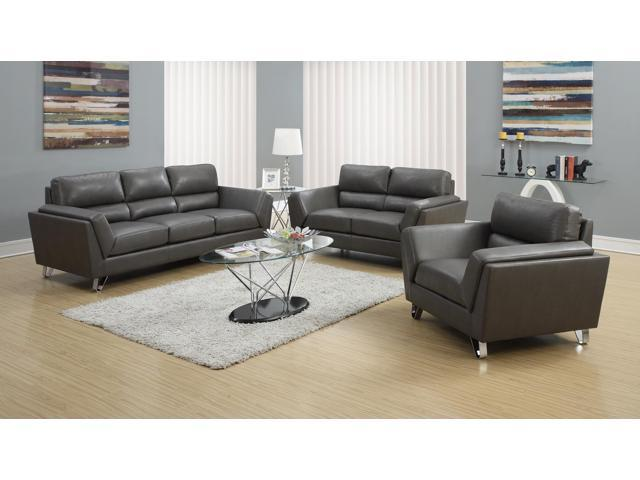 Monarch specialties charcoal grey bonded leather matching for 10 piece living room set
