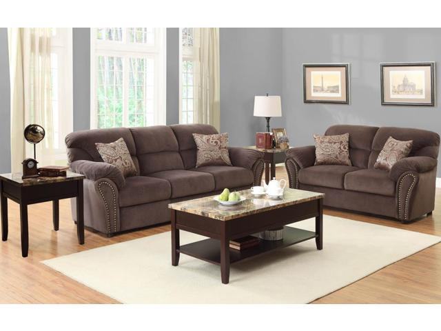 homelegance valentina 5 piece living room set in chocolate microfiber