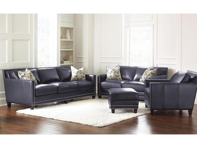 hendrix 4 piece living room set in navy blue leather