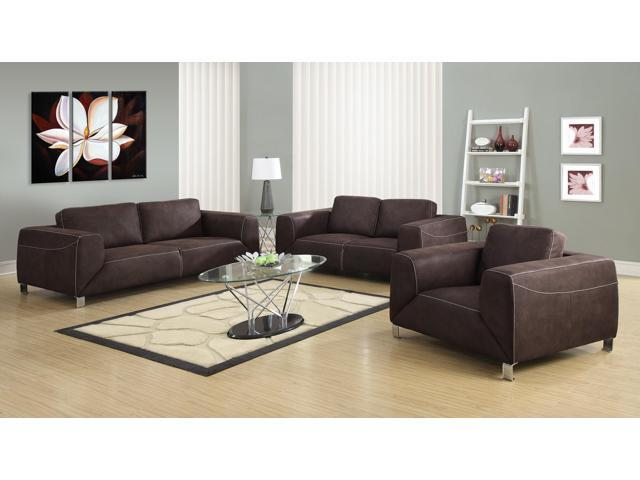 Monarch specialties chocolate brown tan contrast micro for 10 piece living room set