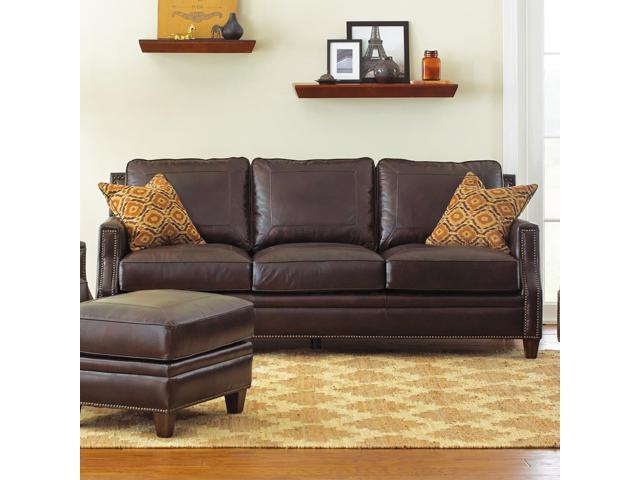Steve Silver Caldwell Sofa W 2 Accent Pillows In Walnut