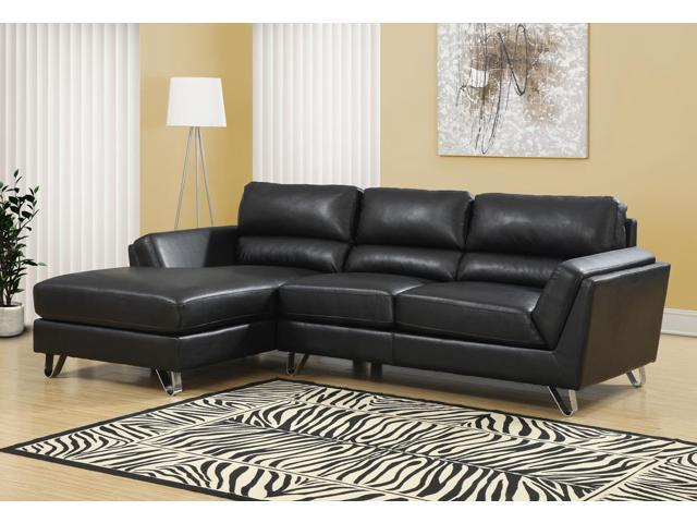 monarch specialties black bonded leather match sofa
