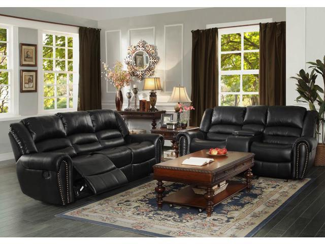 Homelegance center hill 2 piece living room set in black for 10 piece living room set