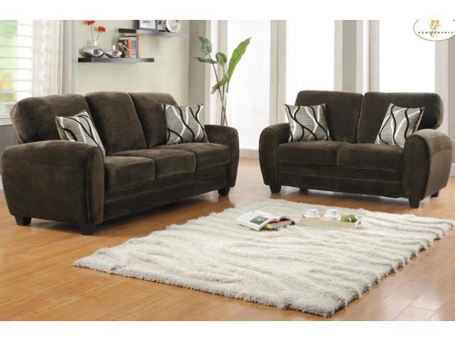 Homelegance rubin 2 piece living room set in chocolate for 10 piece living room set