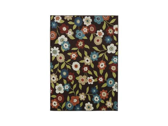 Mayberry Rugs Lifestyles Daisy Field Chocolate - 5 Foot 2 Inch x 7 Foot 3 Inch