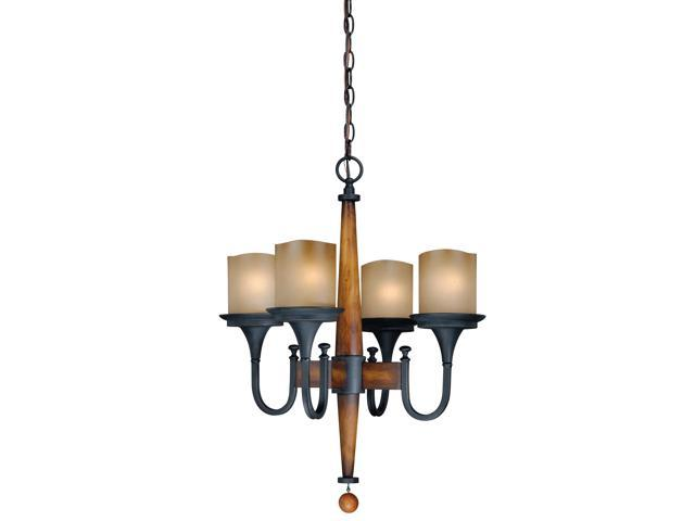 Vaxcel Meritage 4L Chandelier, Charred Wood and Black Iron - H0025