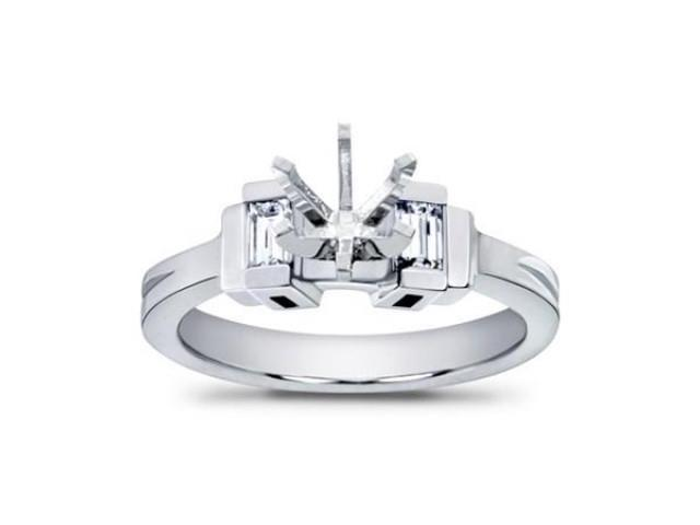 0.40 Ct Ladies Bagutte Cut Diamond Semi Mount Engagement Ring in 14 kt White Gold