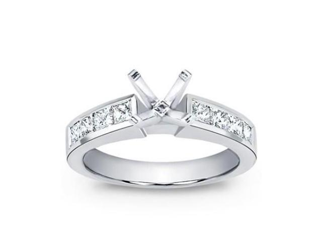 1.00 Ct Ladies Princess Cut Diamond Semi Mount Engagement Ring in Platinum