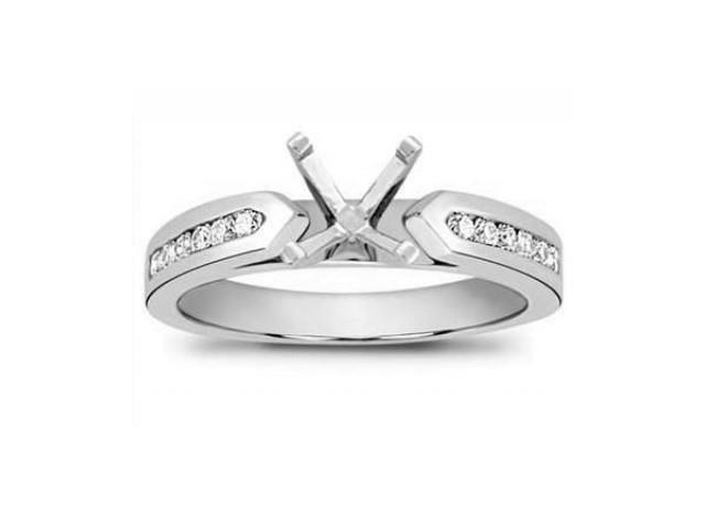 1.00 Ct Ladies Round Cut Diamond Semi Mount Engagement Ring  in 14 kt White Gold