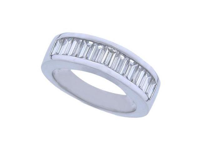 2.00 ct Ladies Baguette Cut Diamond Wedding Band in Channel Se in 14 kt White Gold