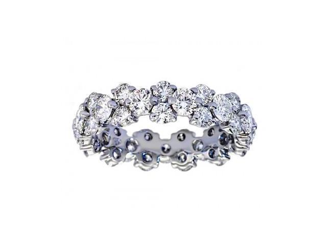 5.00 ct Ladies Round Cut Diamond Eternity Wedding Band Ring in 14 kt White Gold