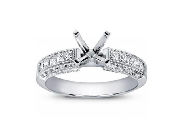 1.00 Ct Split Shank Round Cut Diamond Semi MountEngagement Ring  in 18 kt White Gold