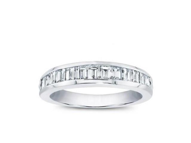 0 75 Ct Las Baguette Cut Diamond Wedding Band In Platinum