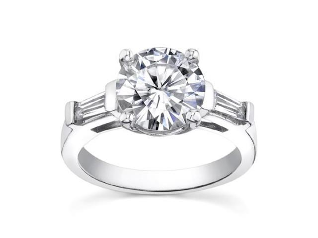 1.10 ct Ladies Round And Bagutte Cut  Diamond Engagement Ring  in 18 kt White Gold