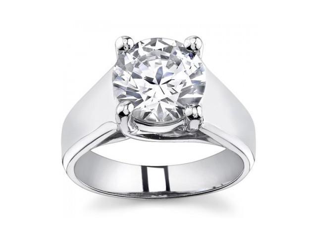 0.73 Ct Ladies Round Cut Diamond Engagement Ring  in 18 kt White Gold