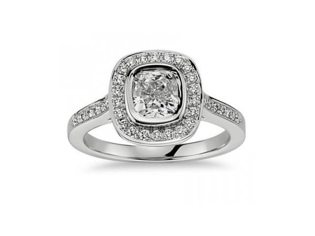 1.50 Ct Ladies Cushion Micro Pave Halo Diamond Engagement Ring  in 14 kt White Gold