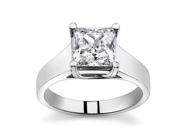 0.74 Ct Ladies Princess Cut Diamond Solitaire Engagement Ring  in 18 kt White Gold