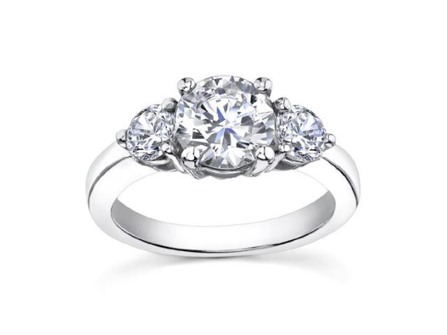 1.95 Ct Ladies Round Cut Diamond Three Stone Engagement Ring in 18 kt White Gold