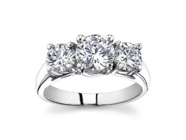 1.93 Ct Ladies Round Cut Diamond Three Stone Engagement Ring in 14 kt White Gold