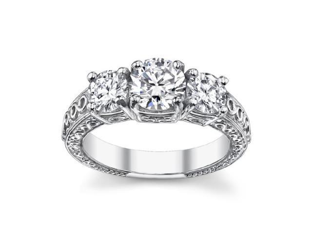 2.05 Ct Ladies Round Cut Diamond Three Stone Engagement Ring in 14 kt White Gold
